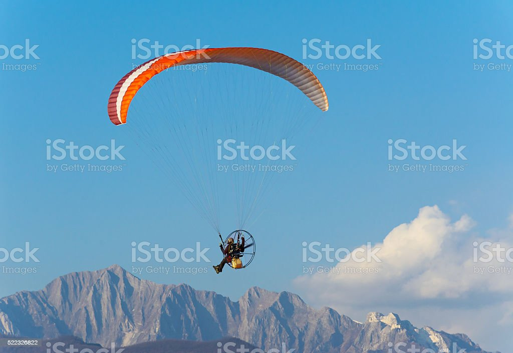 Man paragliding with Para-motor stock photo