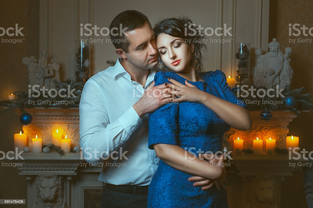 Man passionately hugged the woman. stock photo
