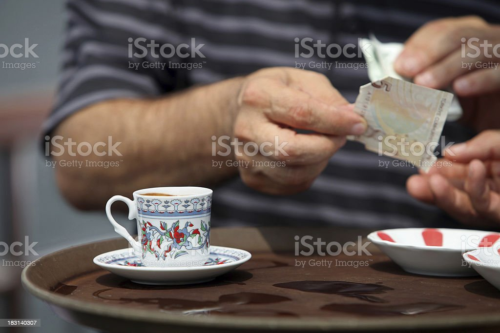 Man Paying For Coffee, Istanbul stock photo