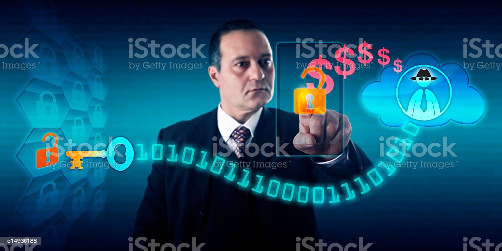 Man Paying Ransom To Black Hat Ransomware Author stock photo
