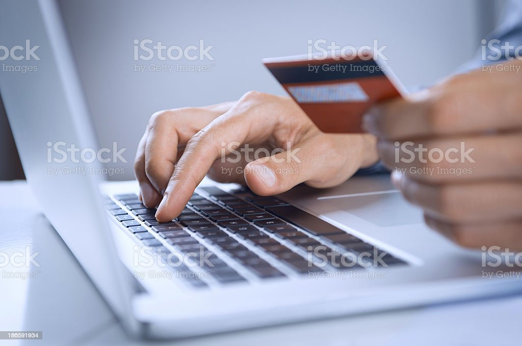 Man Payment Online With Credit Card stock photo