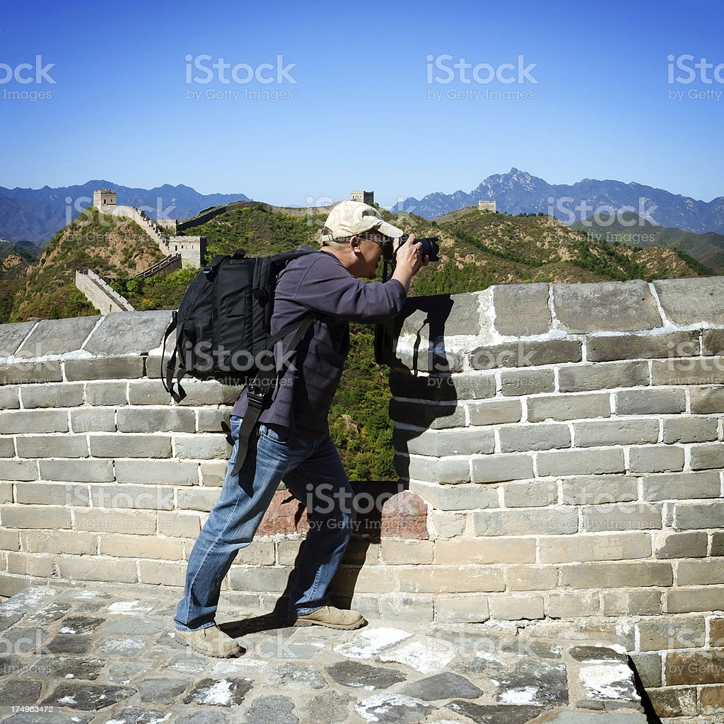 Man Photographing in the great wall royalty-free stock photo