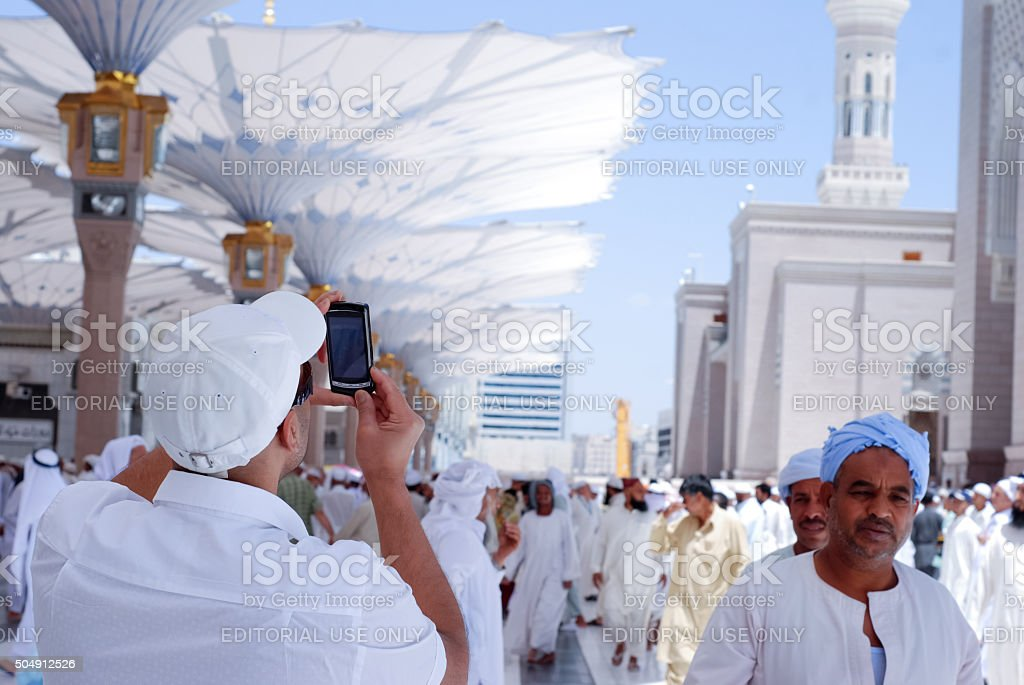 man picture of the Prophet's Mosque in Medina stock photo