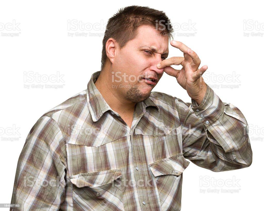 Man Pinching Nose stock photo