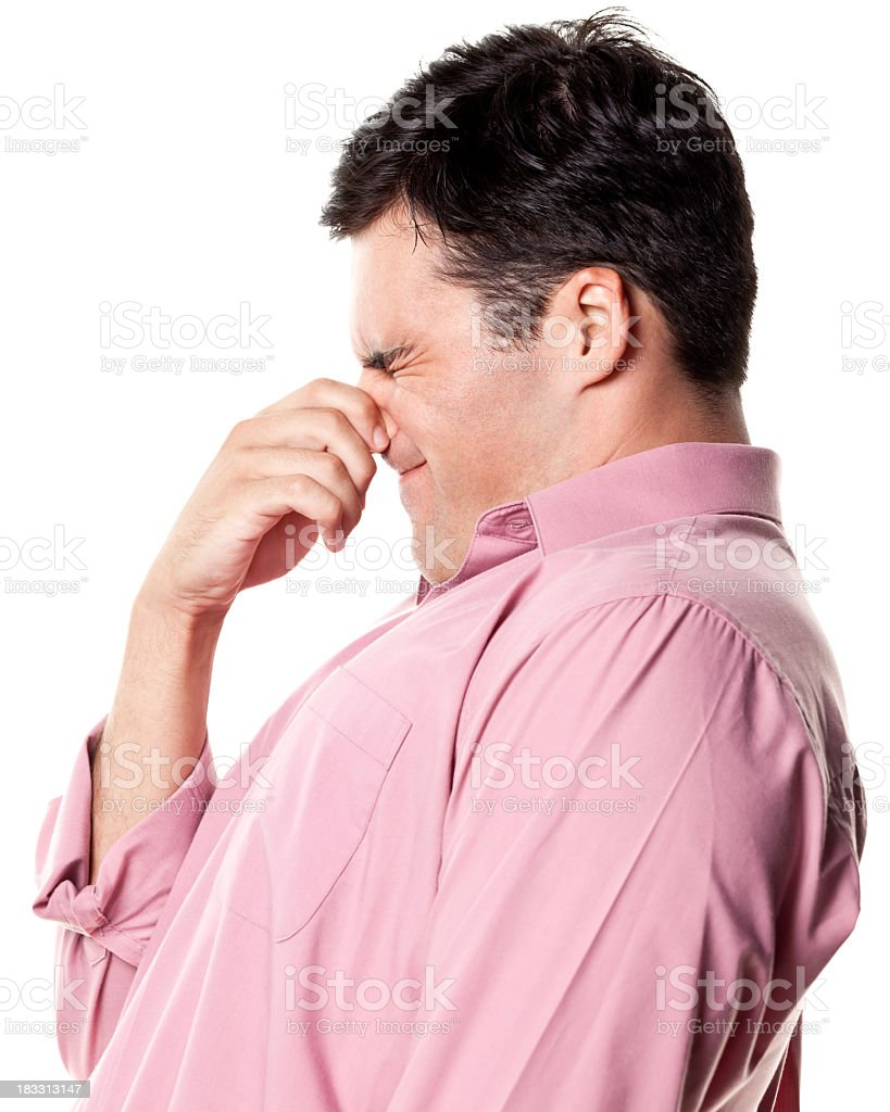 Man Pinching Nose, Side View royalty-free stock photo