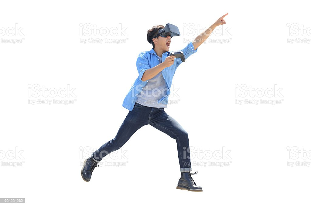 man play vr eyeglasses stock photo