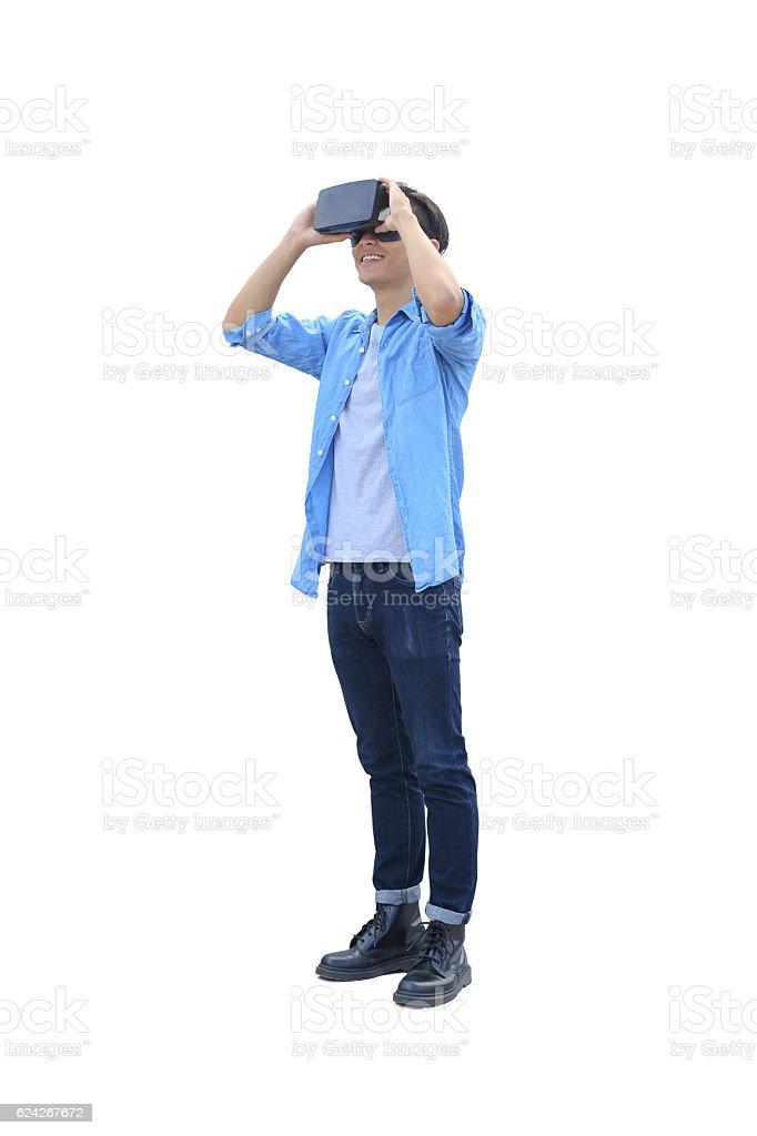 man play vr eyeglasses stock photo