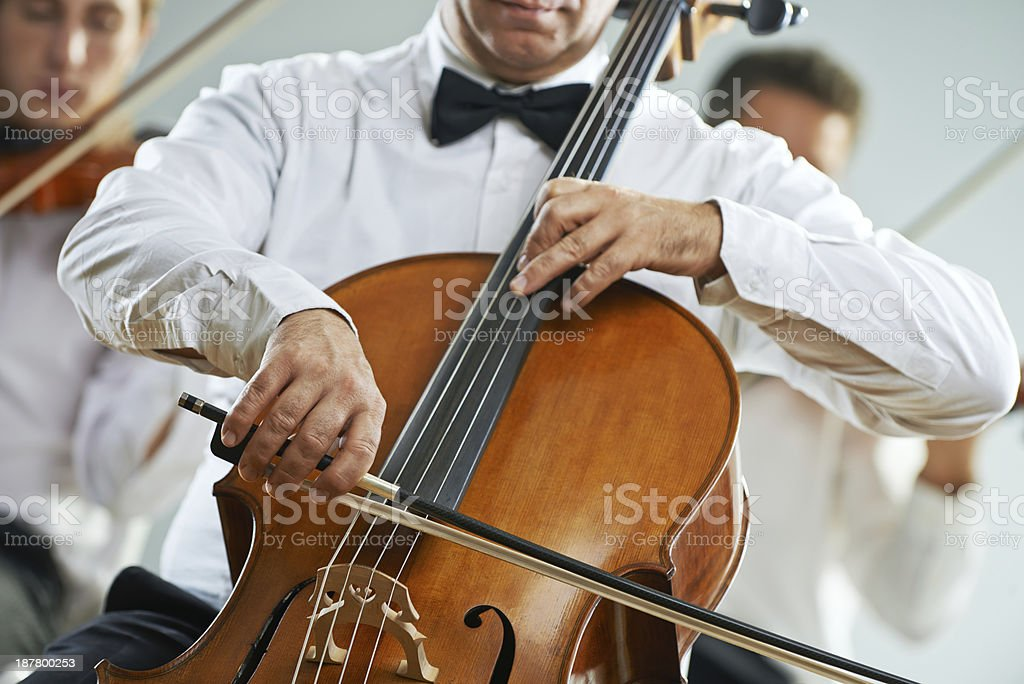 Man playing a cello in an orchestra  stock photo