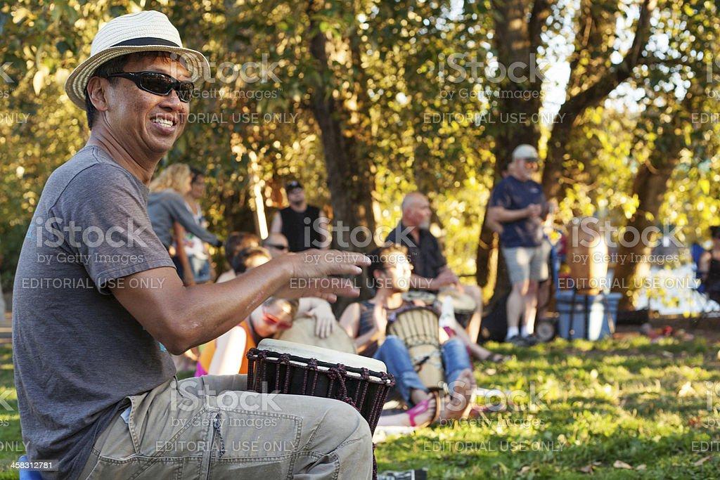 Man playing a djembe royalty-free stock photo