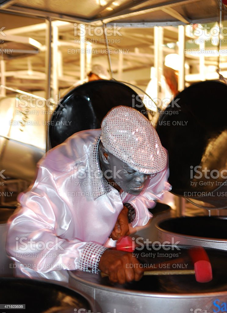 Man playing a steel drum. stock photo
