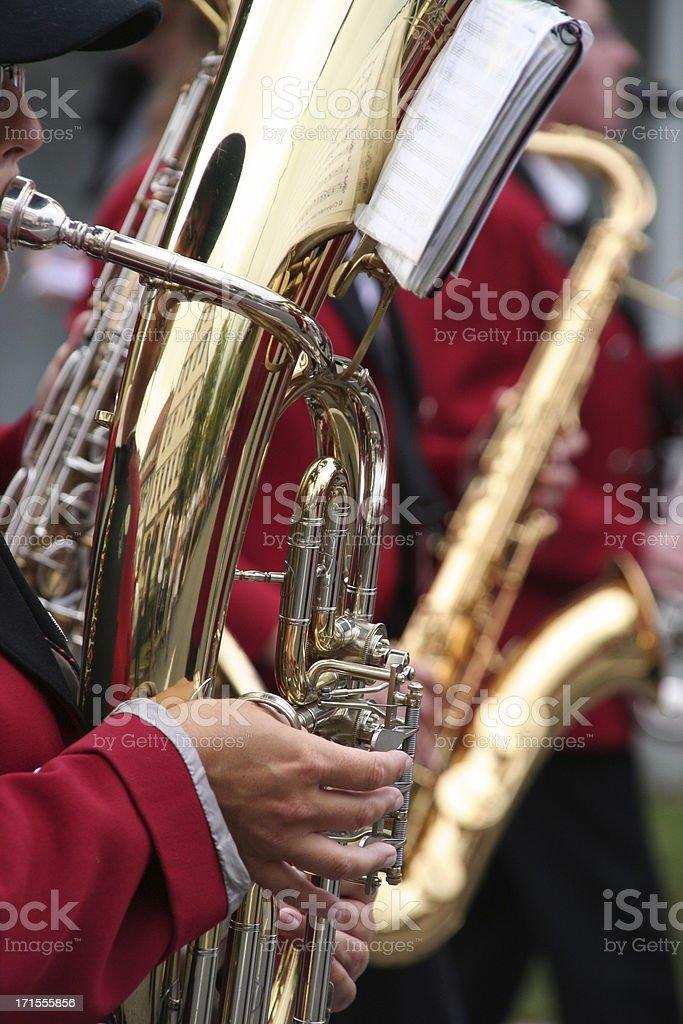 man playing a tuba at parade royalty-free stock photo