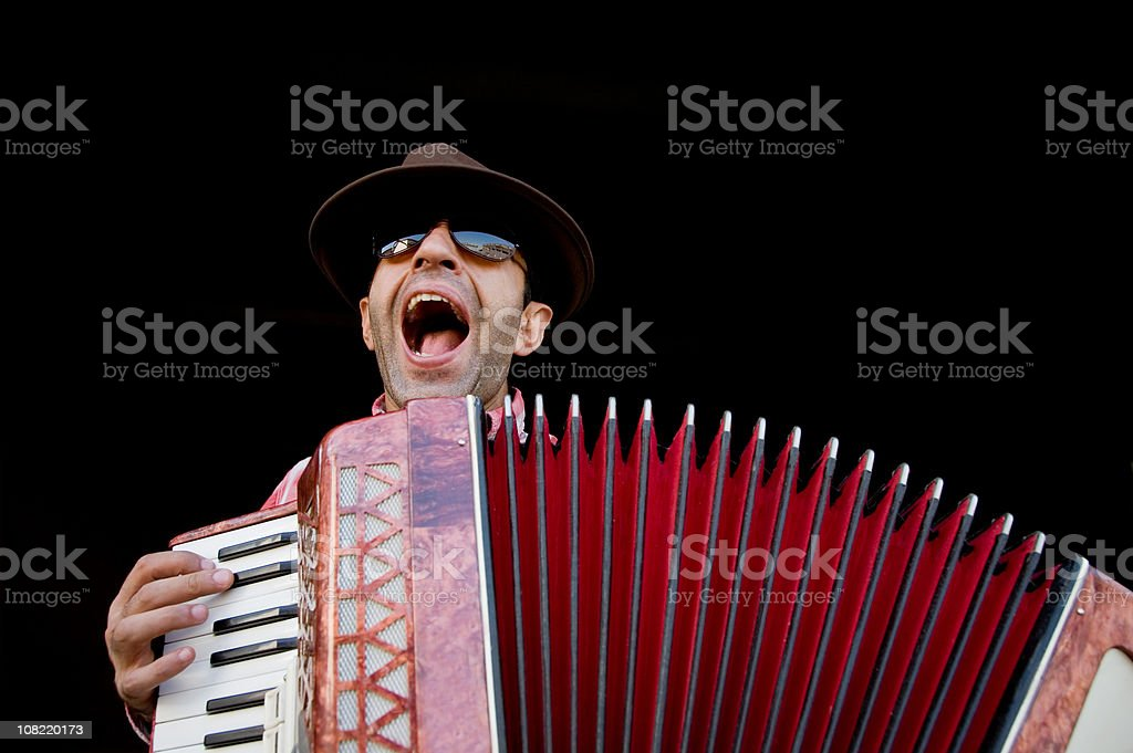 Man playing accordion stock photo