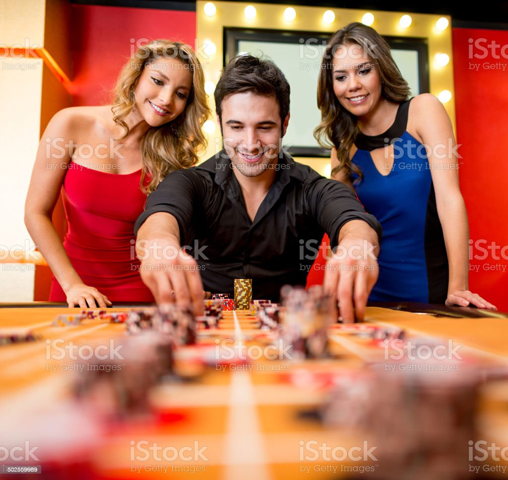 Man playing at the Casino stock photo