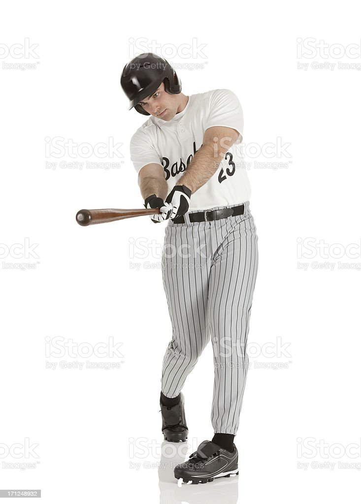 Man playing baseball stock photo