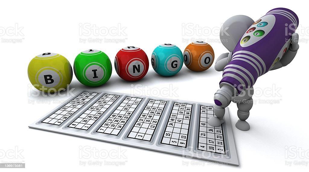 man playing bingo stock photo