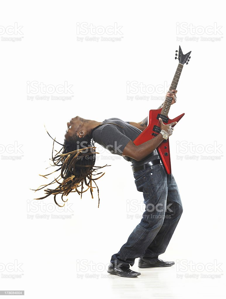 Man playing electric guitar royalty-free stock photo