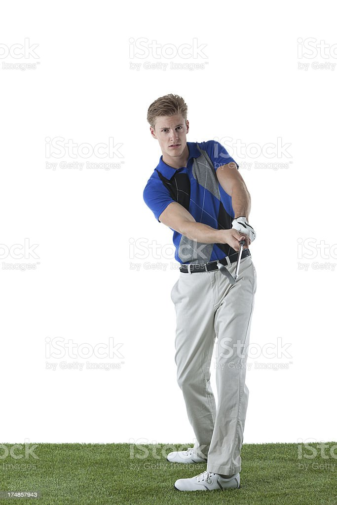 Man playing golf royalty-free stock photo