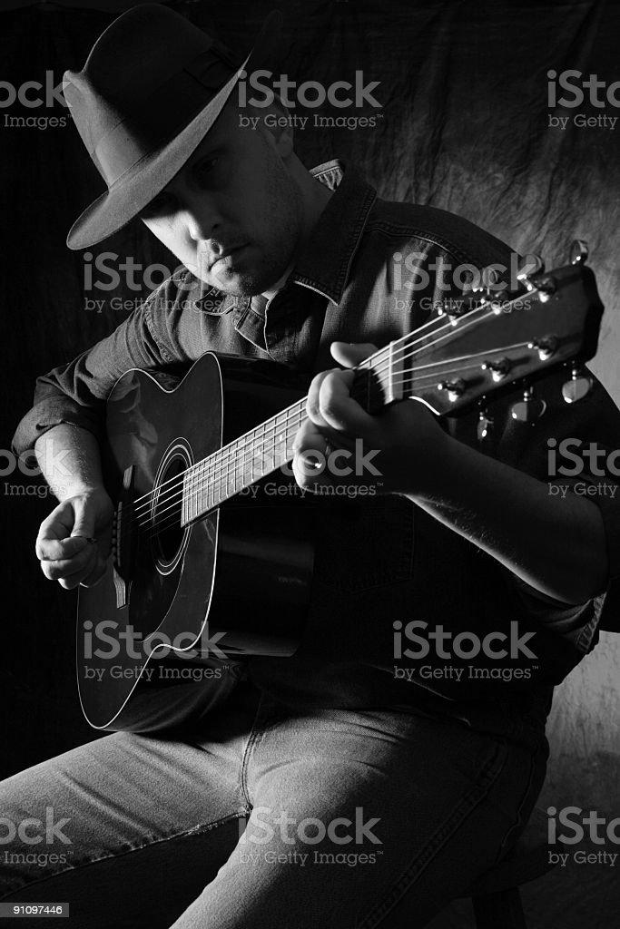 man playing gutiar stock photo