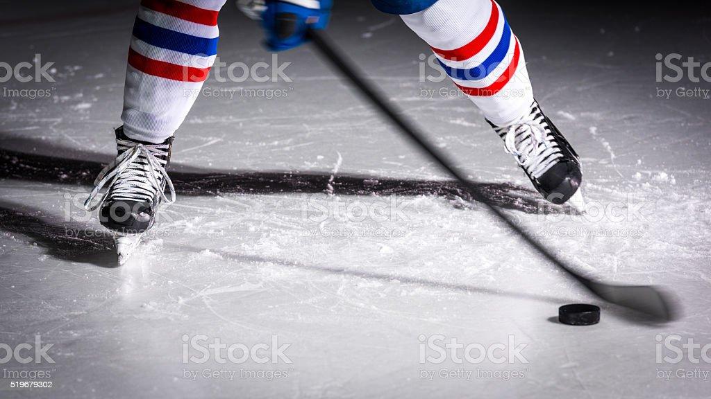 Man playing ice hockey stock photo