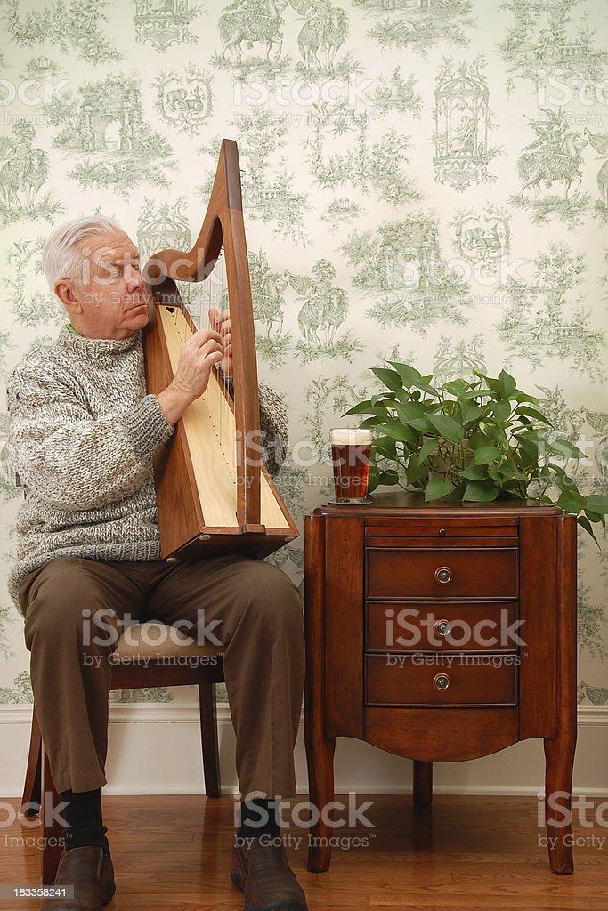 Man Playing Irish Harp stock photo