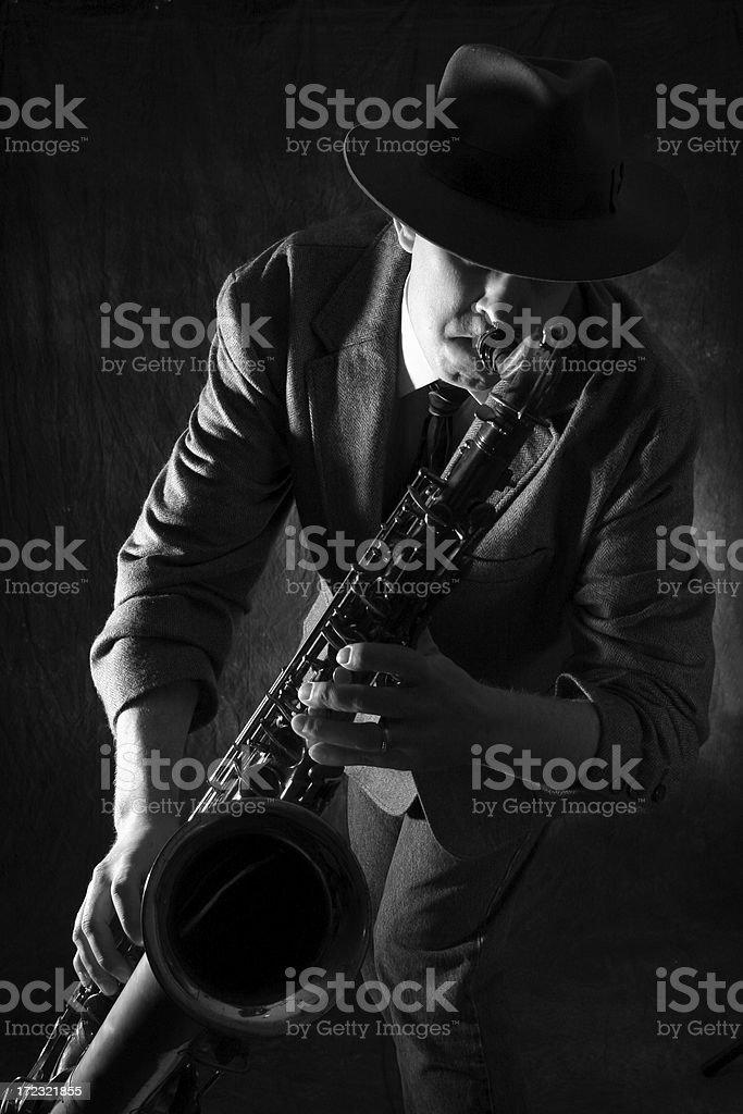Man playing jazz on the saxophone royalty-free stock photo