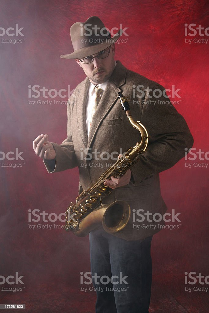 Man Playing Jazz on the Saxophone stock photo