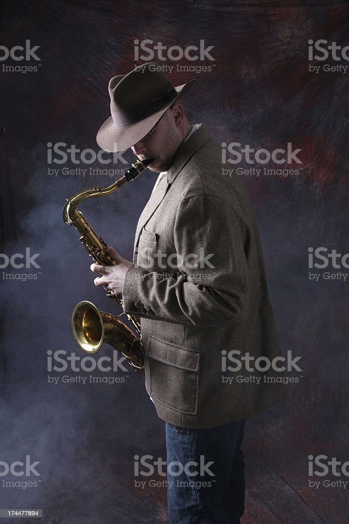 Man Playing Jazz on the Saxophone stock photo