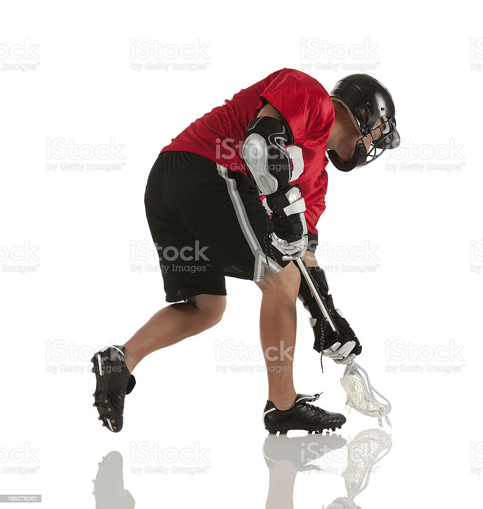 Man playing lacrosse stock photo