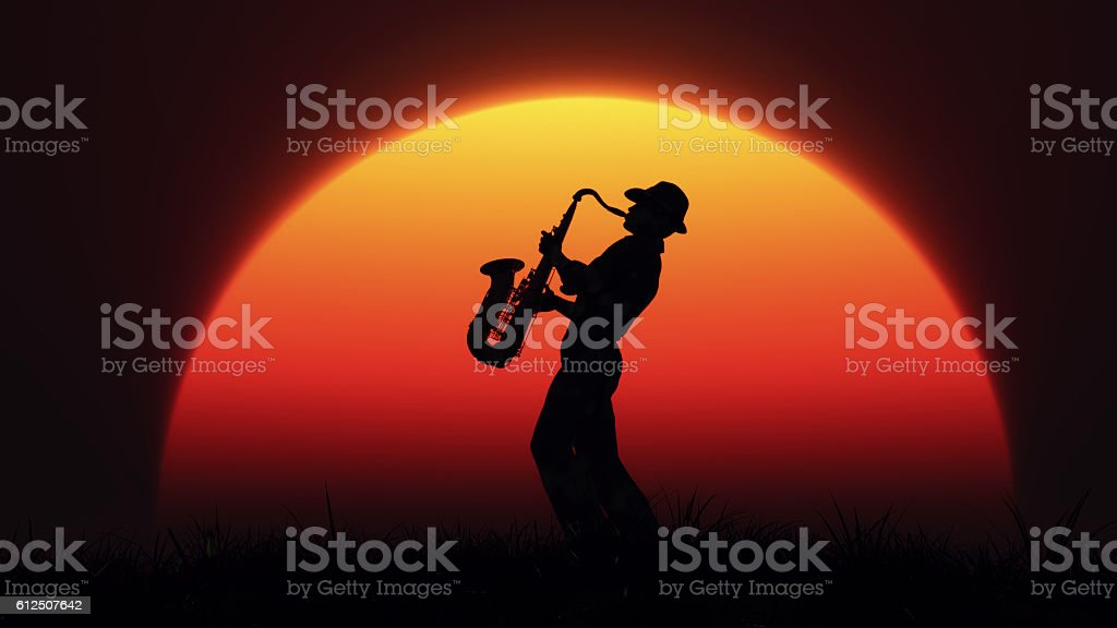Man playing on saxophone stock photo