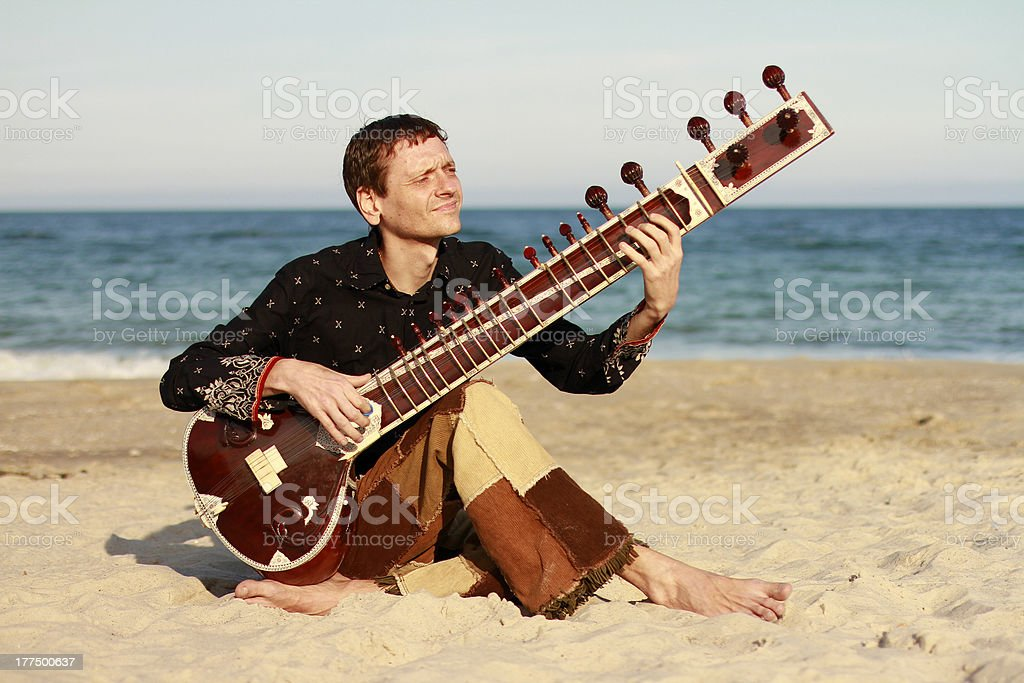 Man playing on the sitar stock photo