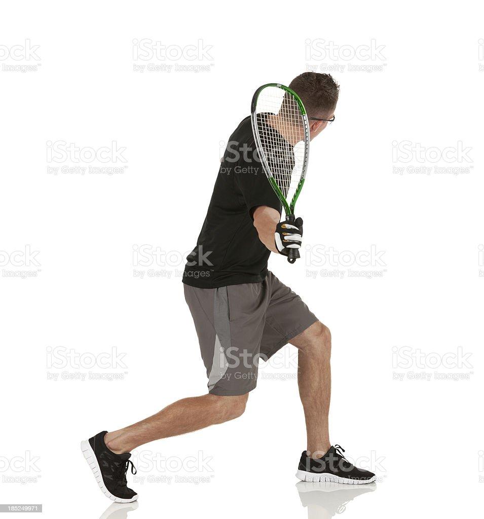 Man playing racquetball stock photo