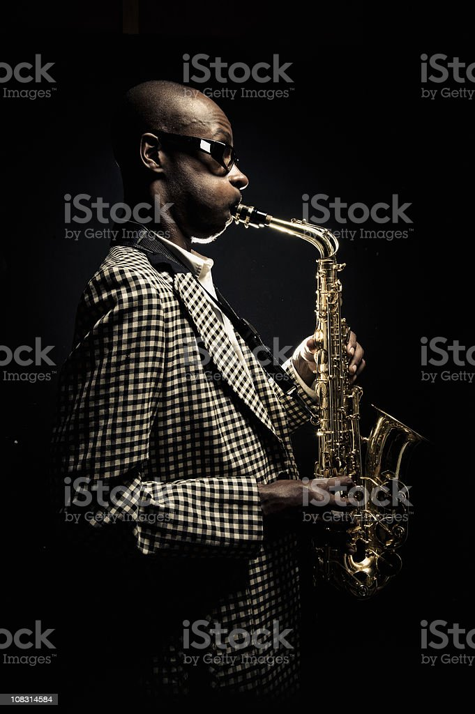Man Playing Saxaphone stock photo