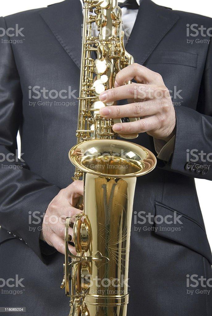 Man playing saxophone royalty-free stock photo