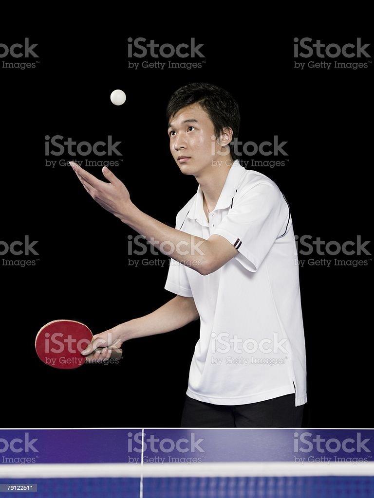 Man playing table tennis stock photo