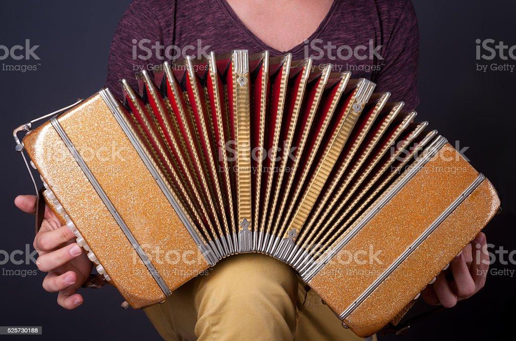 Man playing the Bandoneon accordion. stock photo