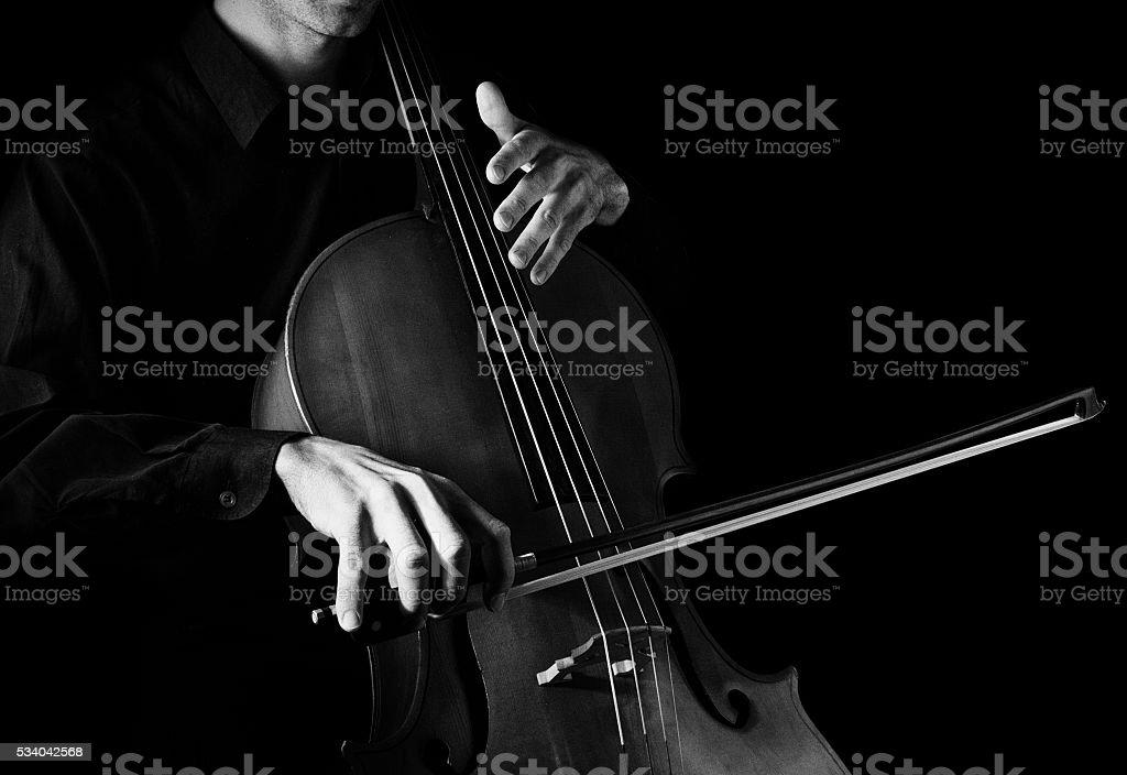 Man playing the cello. stock photo