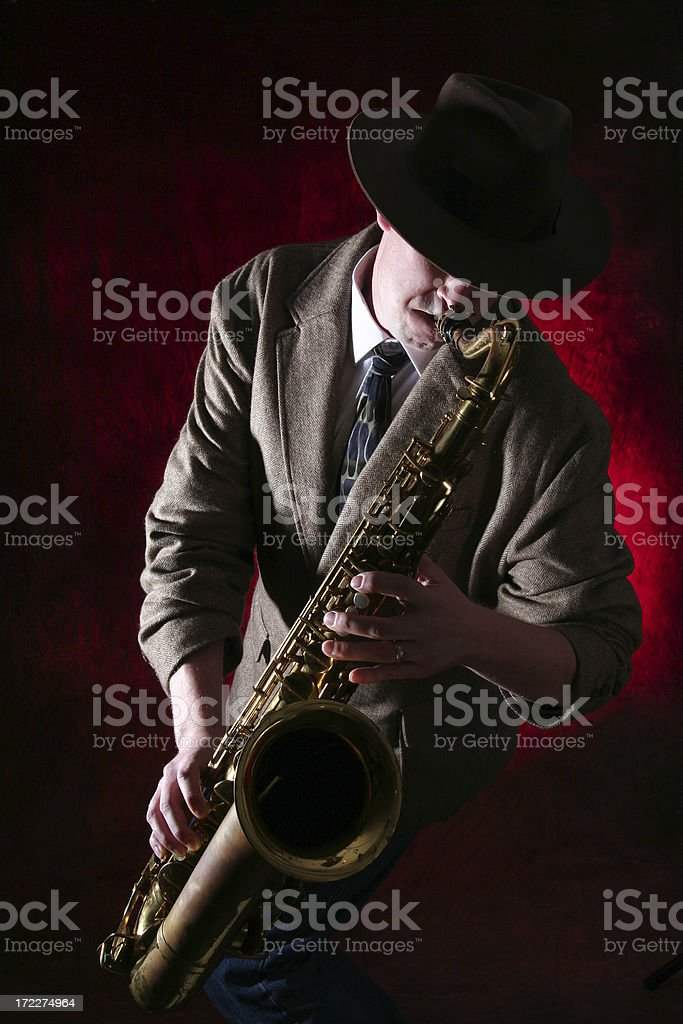 Man playing the Saxophone royalty-free stock photo