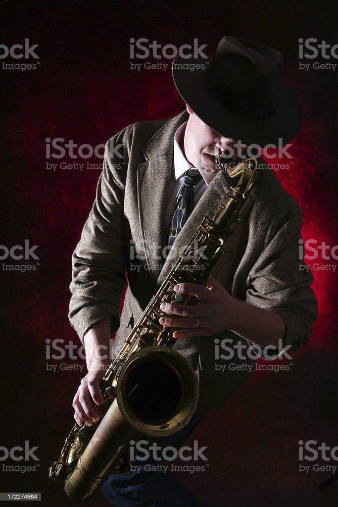 Man playing the Saxophone stock photo