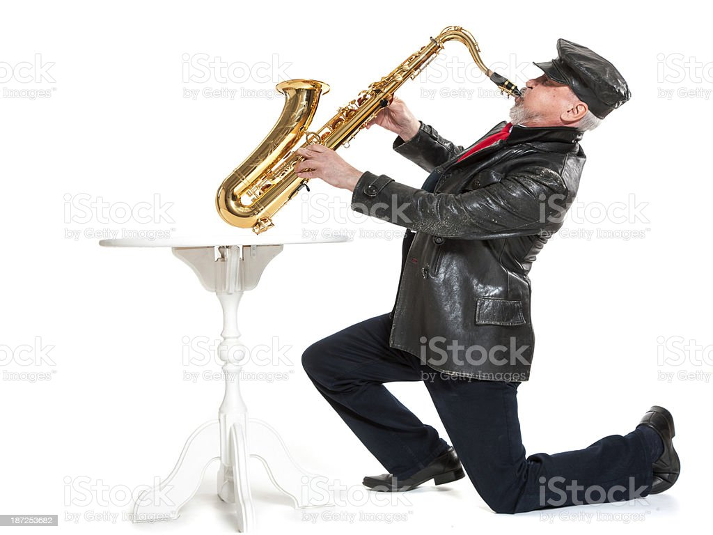 man playing the trumpet royalty-free stock photo
