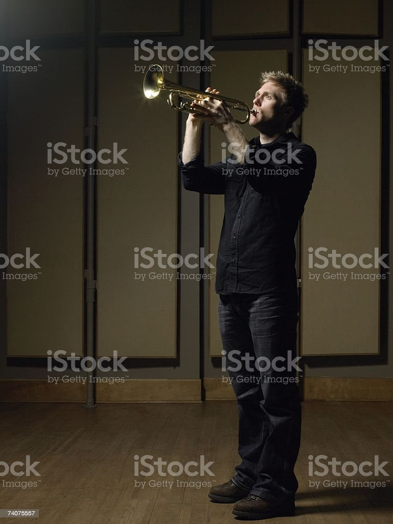 Man playing trumpet royalty-free stock photo