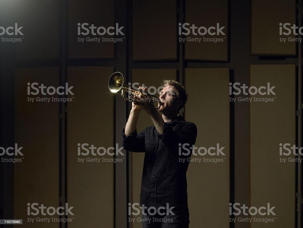 Man playing trumpet royalty-free stock photo