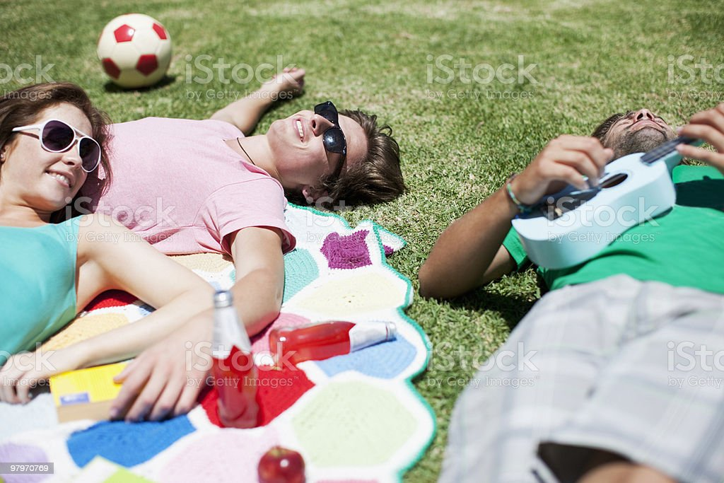 Man playing ukulele for friends laying on blanket in sunny grass stock photo
