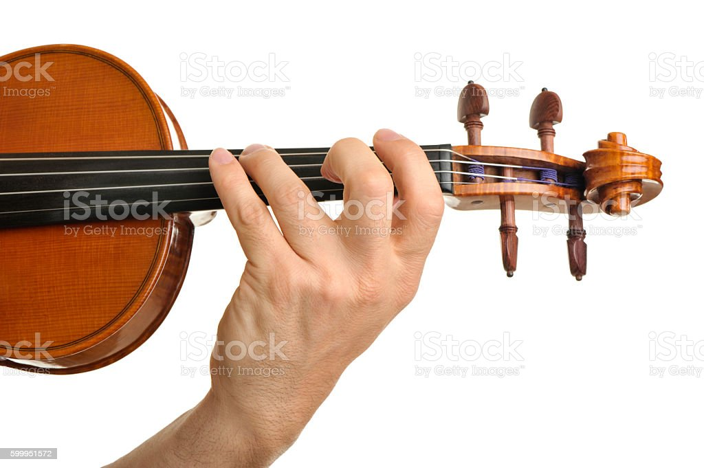 Man playing violin on white background stock photo