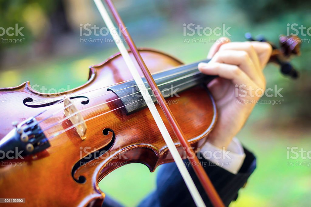 Man playing violin stock photo