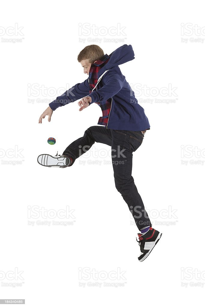 Man playing with Hacky Sack Ball stock photo
