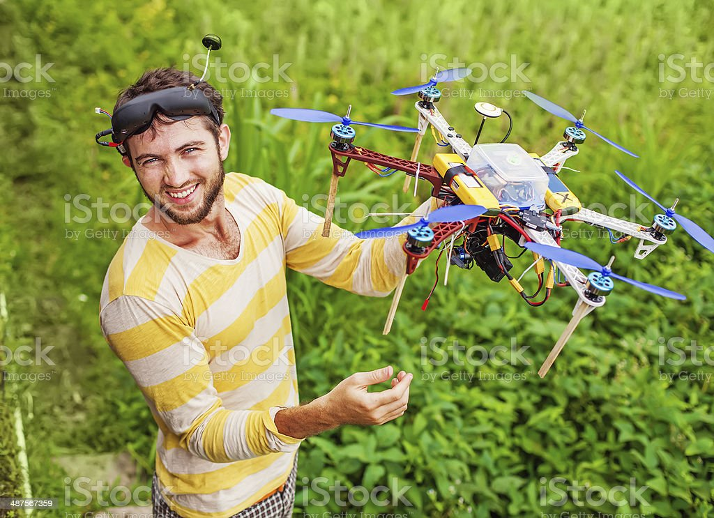 man playing with his copter stock photo