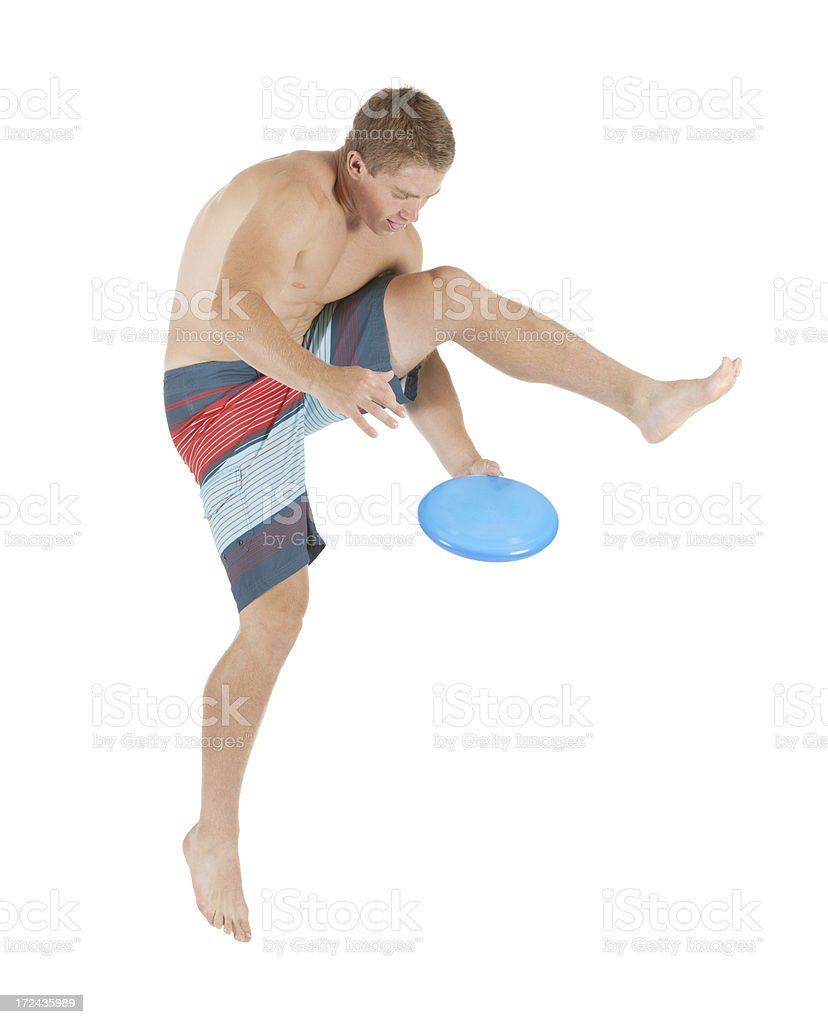 Man playing with plastic disc royalty-free stock photo
