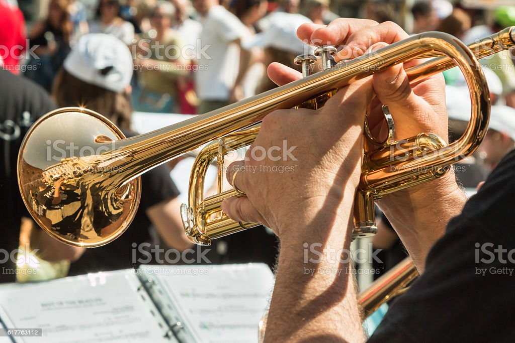 Man Playng Brass Lacquered Trumpet stock photo