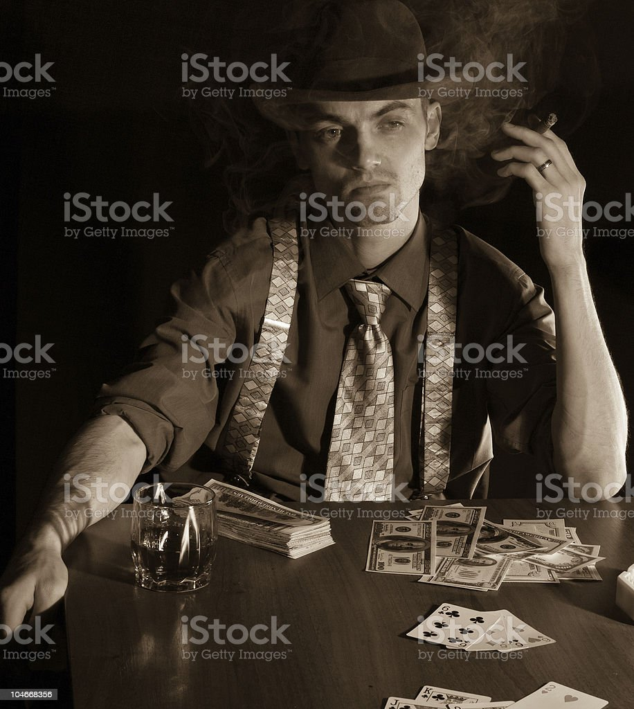 man playng card game royalty-free stock photo