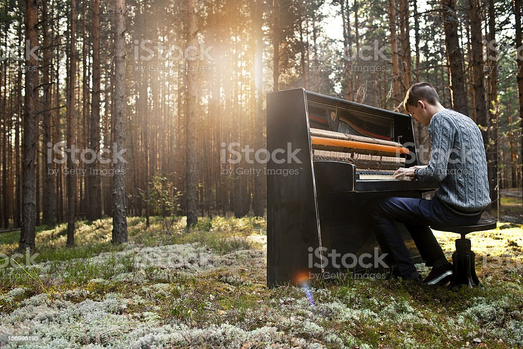 man plays the piano stock photo